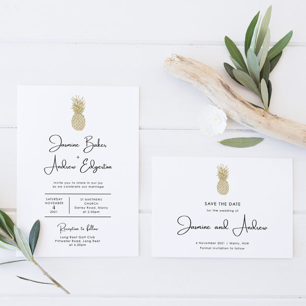 Tropical wedding save the date with gold pineapple and minimal style