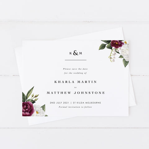 Beautiful floral wedding save the date with monogram and burgundy florals