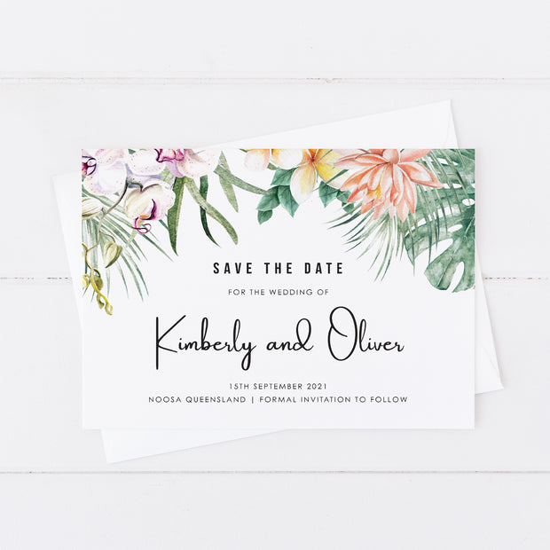 Tropical wedding save the date card with flowers and foliage with modern script font style