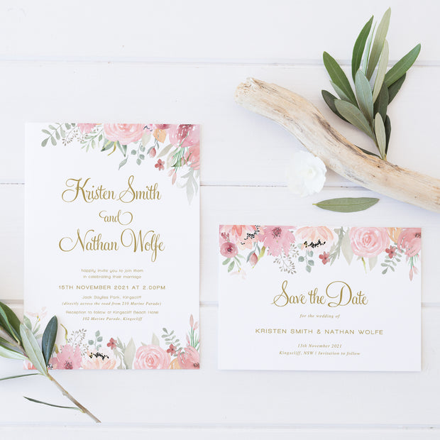 Wedding save the date card in gold with blush and pink florals at top