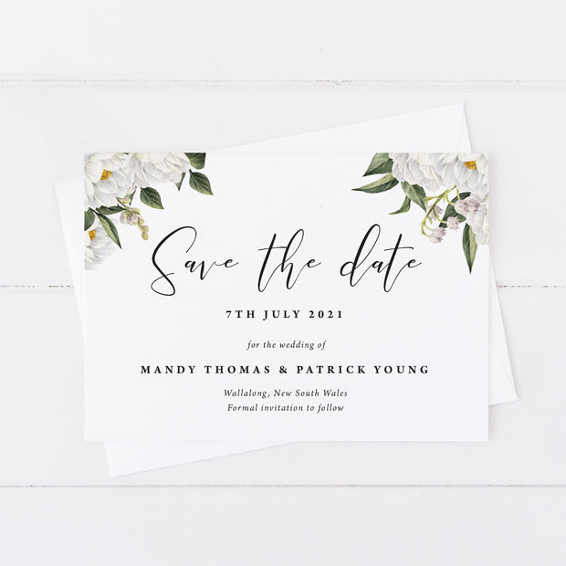 Wedding save the date card with beautiful white watercolour flowers and foliage with modern script font