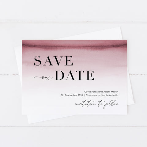 Modern wedding save the date card with deep pink watercolour ombre background and minimal font styles