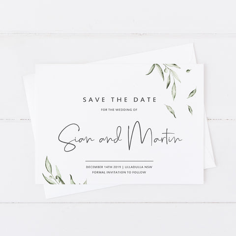Modern wedding save the date card with olive leaves in watercolour and modern script font