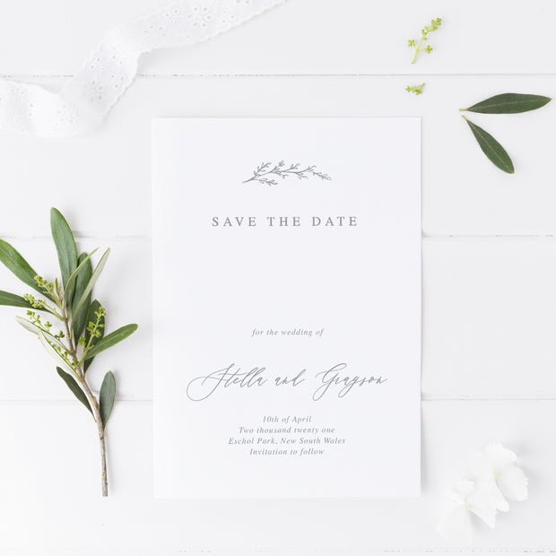 Wedding save the date card, modern minimal style with hand drawn leaf element
