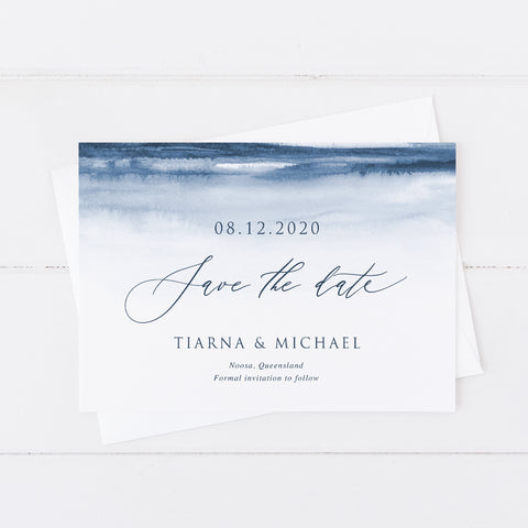 Wedding save the date with calligraphy font and navy blue watercolour background