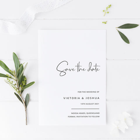 Minimal wedding save the date card grey and white