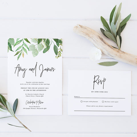 Wedding invitation and RSVP card with watercolour leaves and modern script font