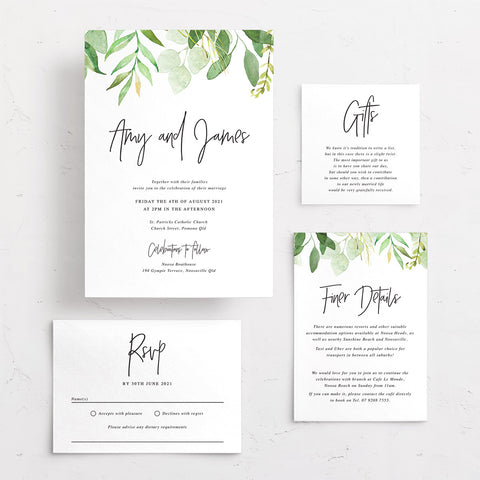 Wedding invitation with watercolour leaves and modern script font