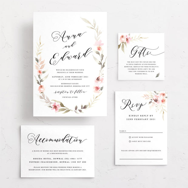 Wedding invitation with watercolour floral wreath and calligraphy font