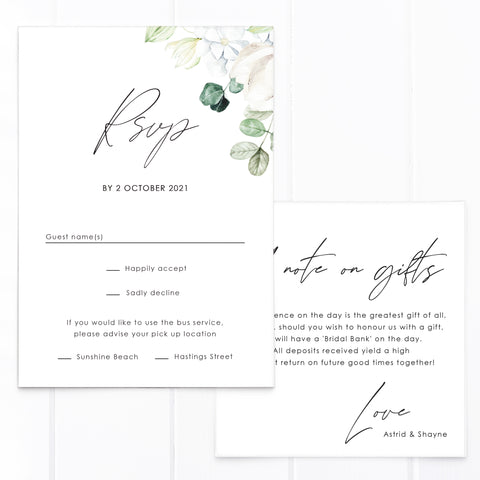 White floral wedding invitation and rsvp card