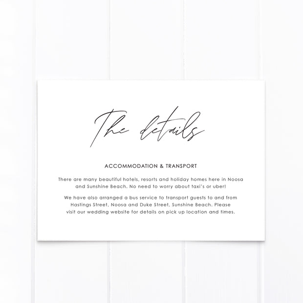 White floral wedding accommodation and transport card