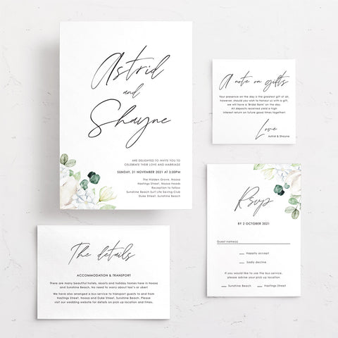 Wedding invitation with white florals, rsvp card, details card and wishing well card