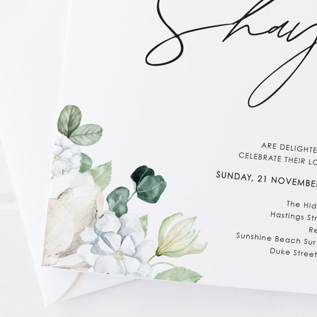 Wedding invitation with hand painted white florals