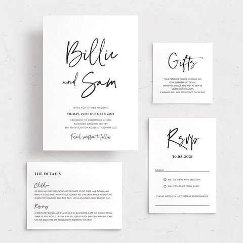 Modern minimal wedding invitation. Black ink on white card. Includes wishing well card and rsvp card