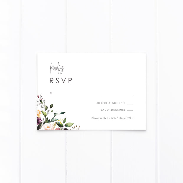 Boho wedding invitation and rsvp card with modern script font and watercolour floral wreath in natural colours