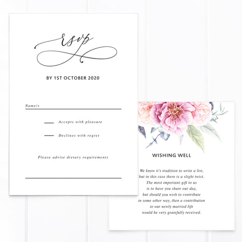 Wedding rsvp and wishing well card with pink and apricot watercolour florals and leaves