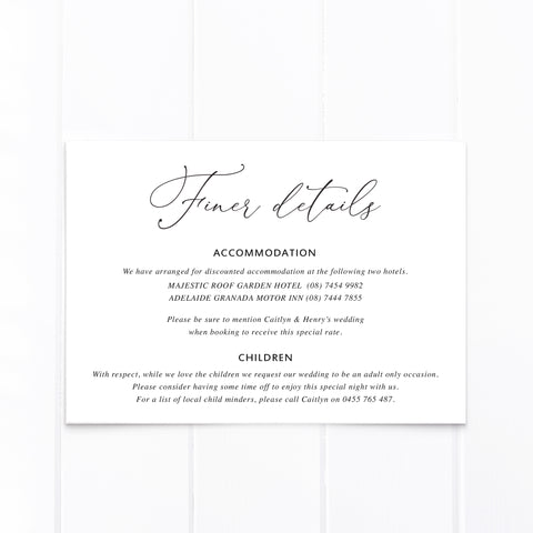 Wedding details card with pink and apricot watercolour florals and leaves