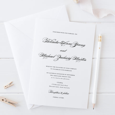 Classic elegant wedding invitation, traditional style with calligraphy font