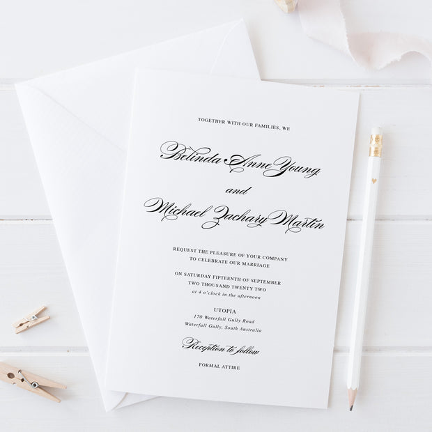 Traditional calligraphy save the date card. Classic elegant wedding invitation black and white