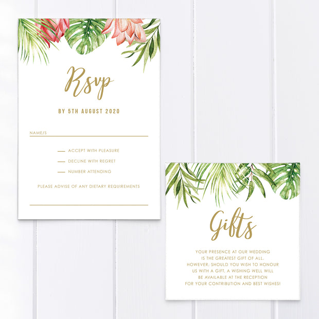 Tropical wedding RSVP cards with bright flowers and greenery leaves