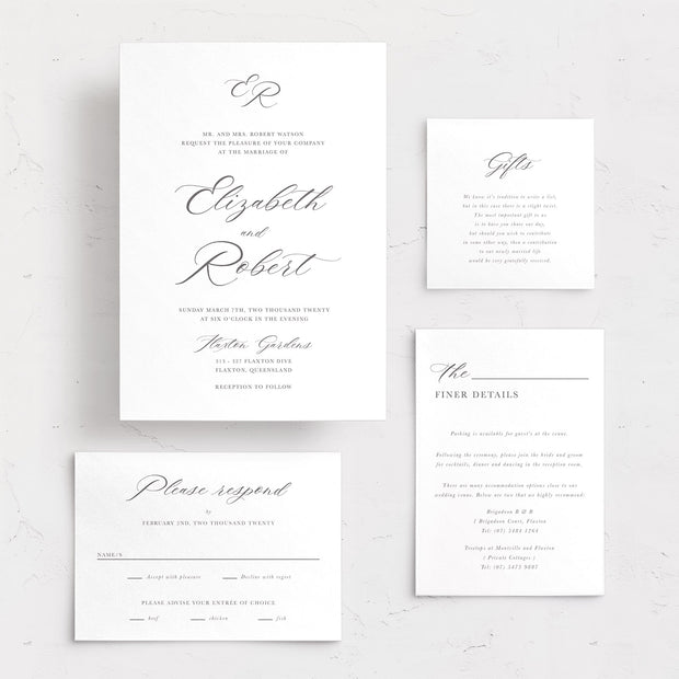 Elegant wedding invitation, rsvp card, details card and wishing well card with traditional calligraphy and monogram. Letterpress or foil printing.