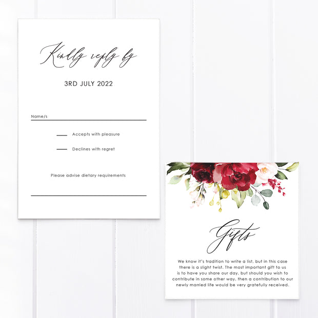 Wedding rsvp and gifts card, red florals and foliage and modern calligraphy font for names