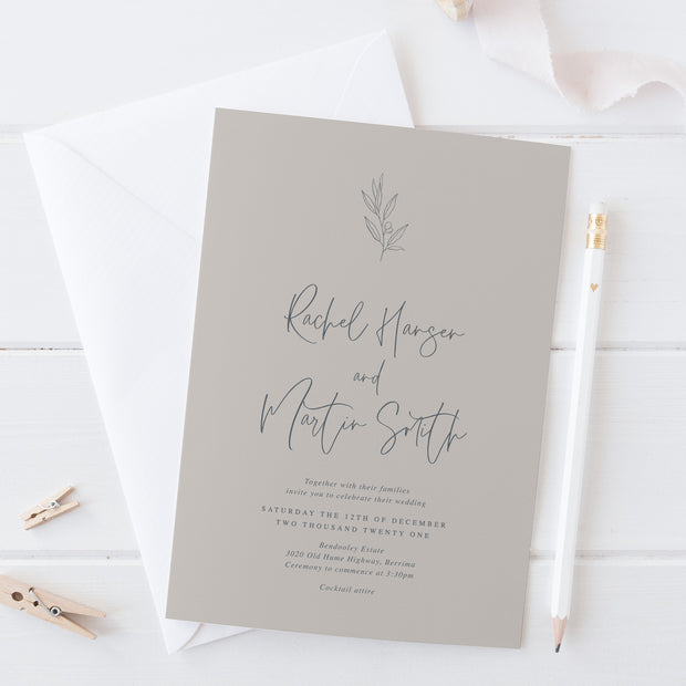 Wedding invitation on gmund stone cardstock with hand drawn olive leaf element