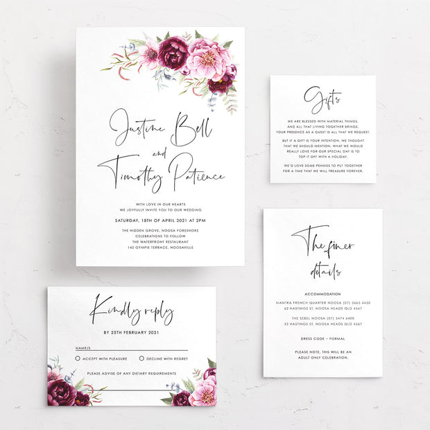 Wedding invitation with burgundy and pink florals and greenery and modern script font