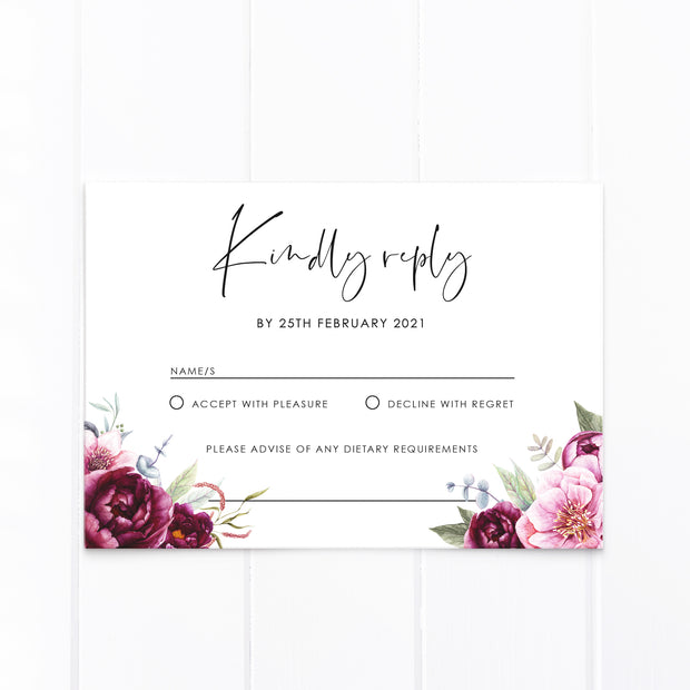 Wedding rsvp card with burgundy and pink florals and greenery and modern script font