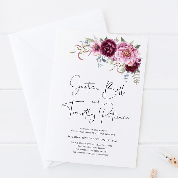 Wedding save the date card, Calligraphy font with plum and pink florals in corners