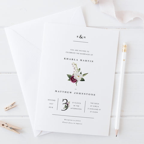Minimal floral wedding save the date with monogram and burgundy flowers