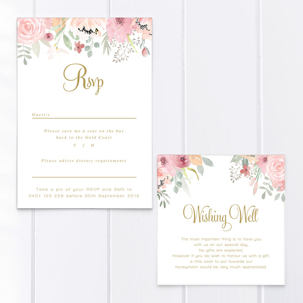 Wedding invitation with top and bottom florals in pink and blush colours, greenery and gold calligraphy. Professionally designed and printed in Australia.