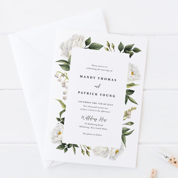 Wedding invitation with beautiful white watercolour flowers and foliage with modern script font