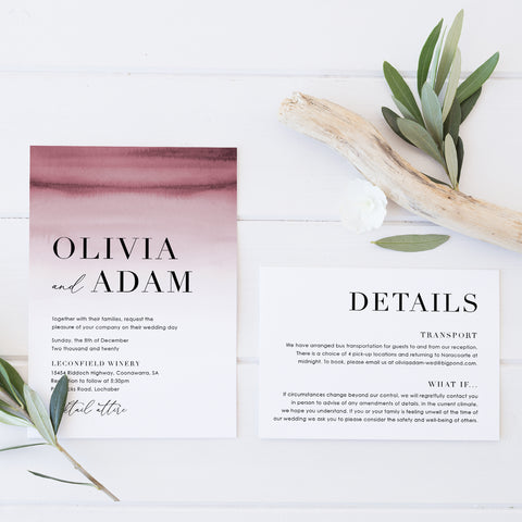Modern wedding invitation, RSVP Card and Wishing Well card with deep pink watercolour ombre background and minimal font styles
