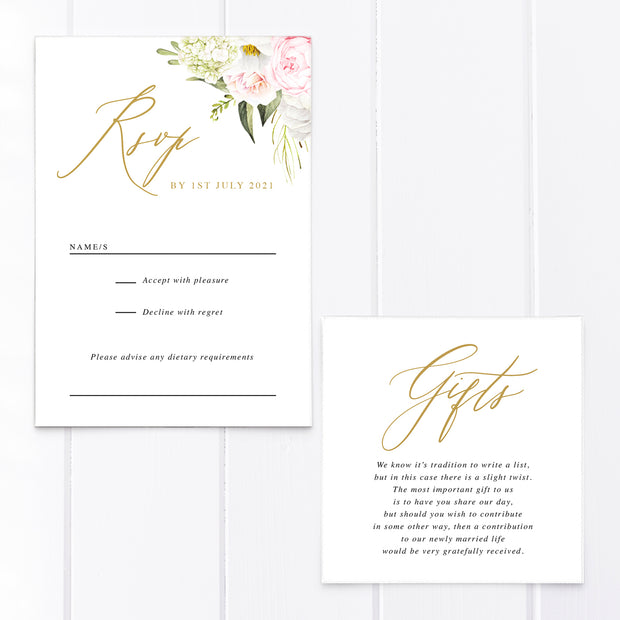 Modern wedding invitation with gold calligraphy font and blush pink flowers