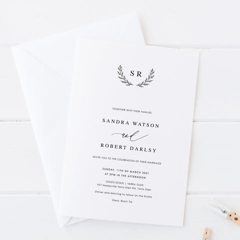 Wedding invitation with wreath monogram of initials, black and white minimal style
