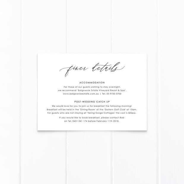 Wedding Invitation black and white with monogram and hand drawn wreath