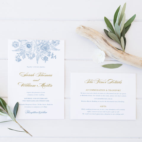 Elegant wedding invitation Hamptons style with delicate floral line art in cornflower blue and gold.