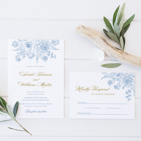 Elegant wedding invitation and RSVP Hamptons style with delicate floral line art in cornflower blue and gold.