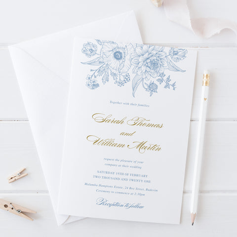 Hamptons style save the date card with cornflower blue detailed floral line art and gold calligraphy
