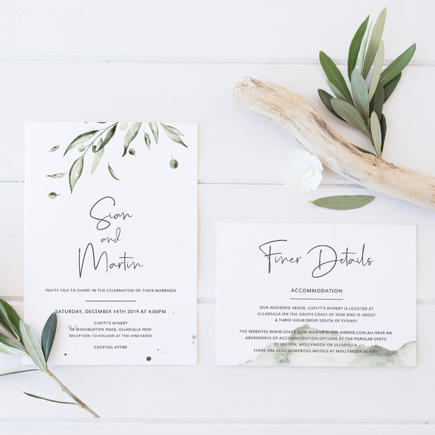 Greenery wedding invitation and accommodation card with watercolour olive leaves and soft green watercolour wash, modern calligraphy
