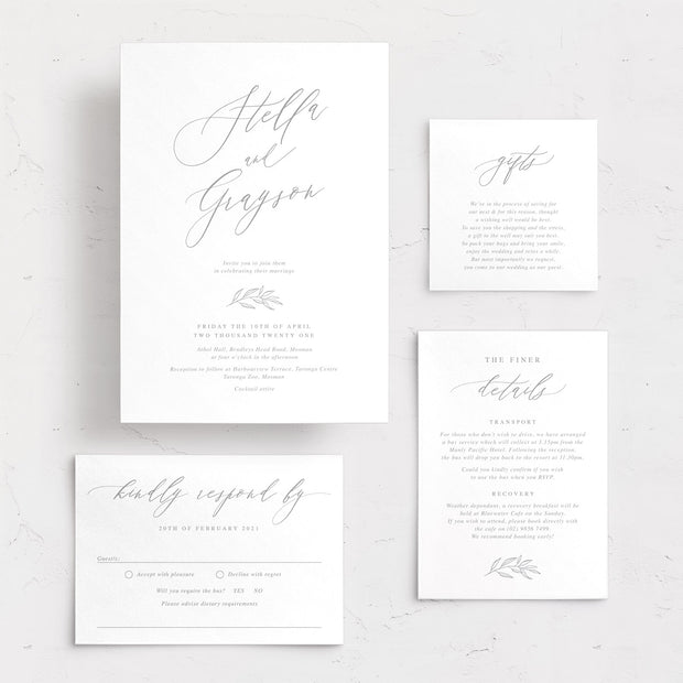 Natural wedding invitation, rsvp card and gifts card with beautiful calligraphy and small botanical hand drawn leaf in minimal style