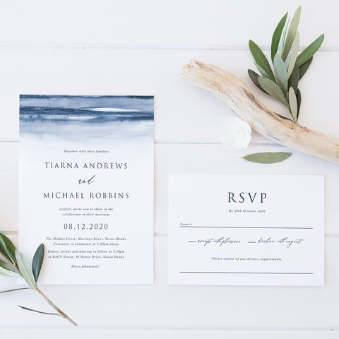 Wedding invitation and rsvp card with navy blue watercolour wash background