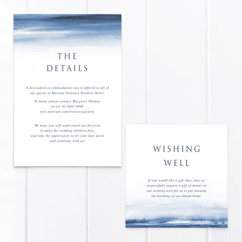 Wedding details card and wishing well card with navy blue watercolour wash background