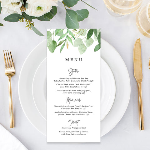 Modern wedding menu with green leaves as border and modern handwritten font, single or double sided, printed or printable designs
