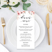 Wedding or Event menu, soft pink florals and calligraphy font
