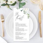 Beautiful double sided wedding menu, white florals and foliage, handwritten font, professionally printed in Australia or printable menu cards