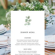 Wedding Menu Card with rustic green leaf element, single or double sided printing and printable designs available