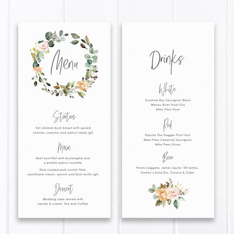 Bohemian floral wreath menu, double sided, natural colours