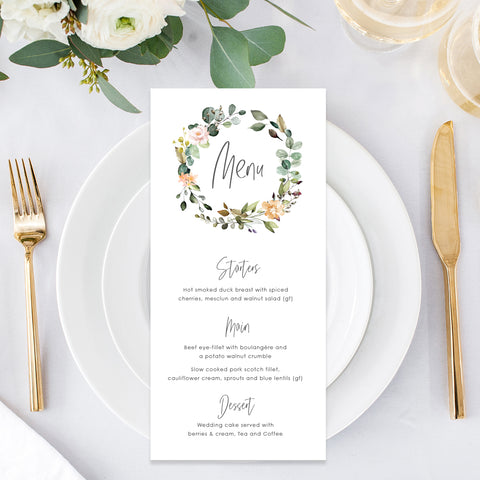 Bohemian style wedding menu with floral wreath in natural colours, printed single or double sided